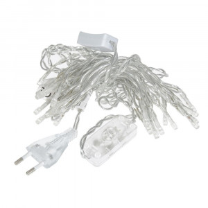 Lichterkette LED + Schalter, Transparent, warmes Licht, Linear 230 V-50 Hz, 20 LED, transparent